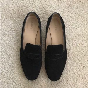 J Crew black suede loafers size 9